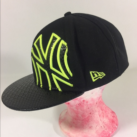 Black   lime green new era fitted hat a196e67409c